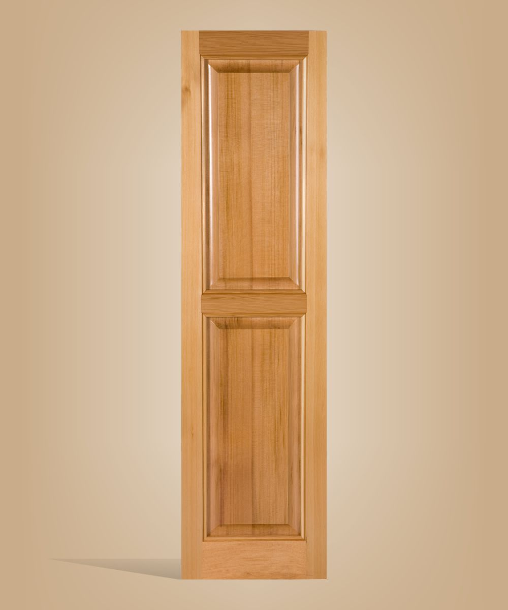 Paneled wooden window shutters made of real cedar for house or buiness or any building exterior.