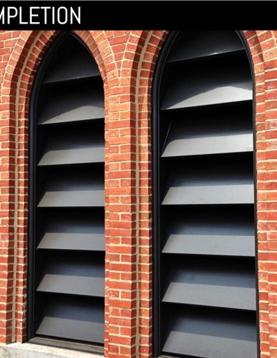 New, custom louvered shutter at church in Goldsboro, NC.