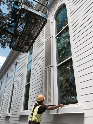 Custom shutters for Greenbrier Chapel.