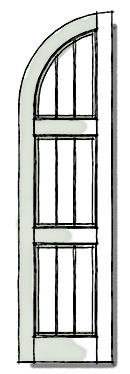 Frame and Plank Window Shutters Exterior configuration of quarter top three panel.