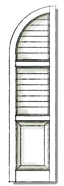 Decorative shutters in Quarter Top Three Panel.