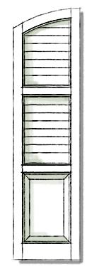 Decorative shutters in Three Panel SEG Top.