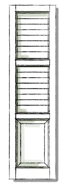 Decorative shutters in Standard Three Panel.