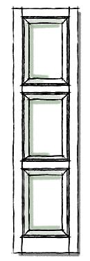 Raised panel shutters in three panel configuration.