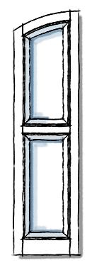 Paneled wooden window shutters in SEG top two panel.