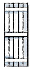 Board and batten shutters three batten configuration.