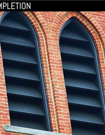 New, louvered shutters custom built for St. Stephens Episcopal churh in Goldsboro, NC.