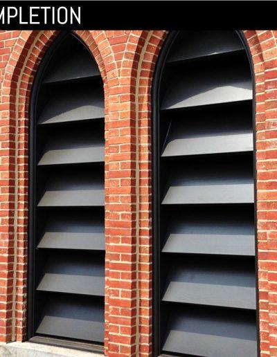 New, custom louvered shutter at church in Goldsboro, NC.