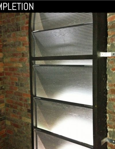 Close up inside view of louvered shutter at St. Stephens church in Goldsboro, NC.