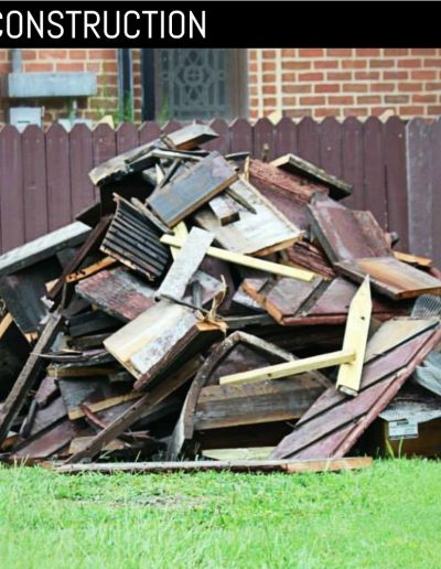 Pile of wood debris from old, louvered shutters.